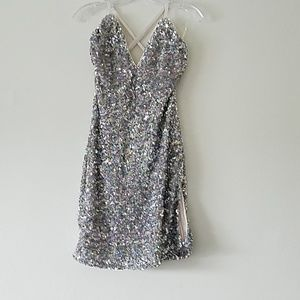 Womens Multi-colored Sequins Party Mini Dress